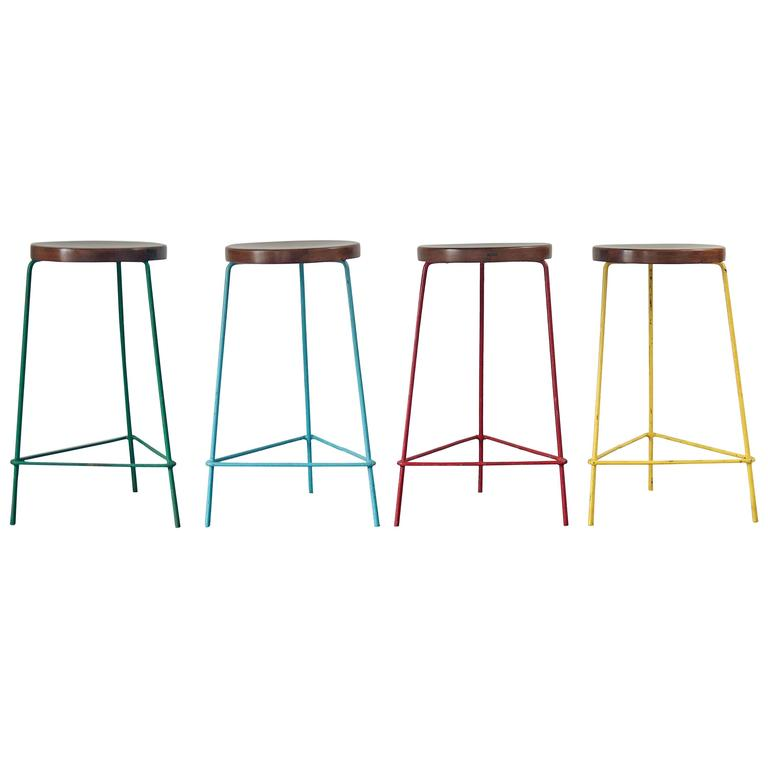 Set of Four Stools from the College of Architecture by Pierre Jeanneret