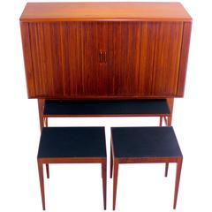 Exceptional Danish Modern Teak Bar Cabinet with Tambour Doors by Kurt Ostervig