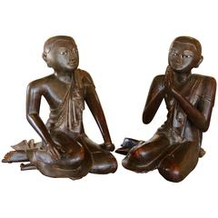Early 19th Century Siamese 'Thai' Wood Carved Monks with White Painted Eyes