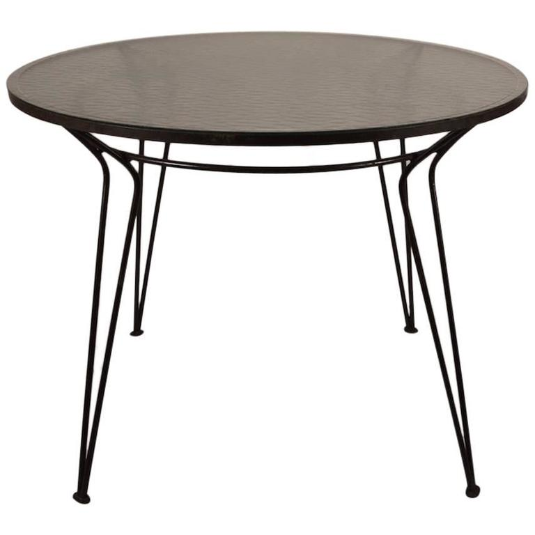 Wrought Iron Table with Textured Glass Top after Salterini  : 4752793l from www.1stdibs.com size 768 x 768 jpeg 27kB