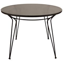 Wrought Iron Table with Textured Glass Top after Salterini