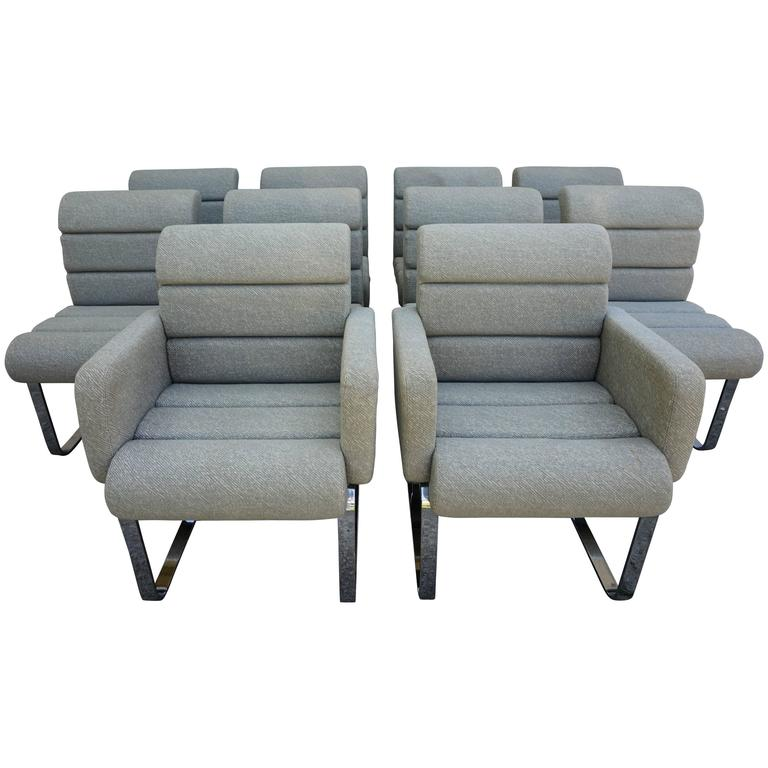 Set of Ten Mariani Laguna Chrome Pace Collection Dining Chairs