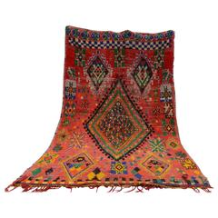 Large Vintage Boucherouite Moroccan Rug