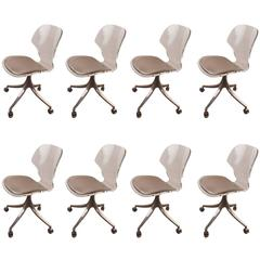 Set of Eight Lucite Swivel Dining Chairs by Hill Manufacturing Company