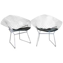 Pair of Harry Bertoia for Knoll Chrome Diamond Chairs