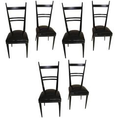 Set of Six Ebonized Chairs in the Style of Gio Ponti