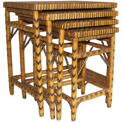 Set of Four Rattan Nesting Tables