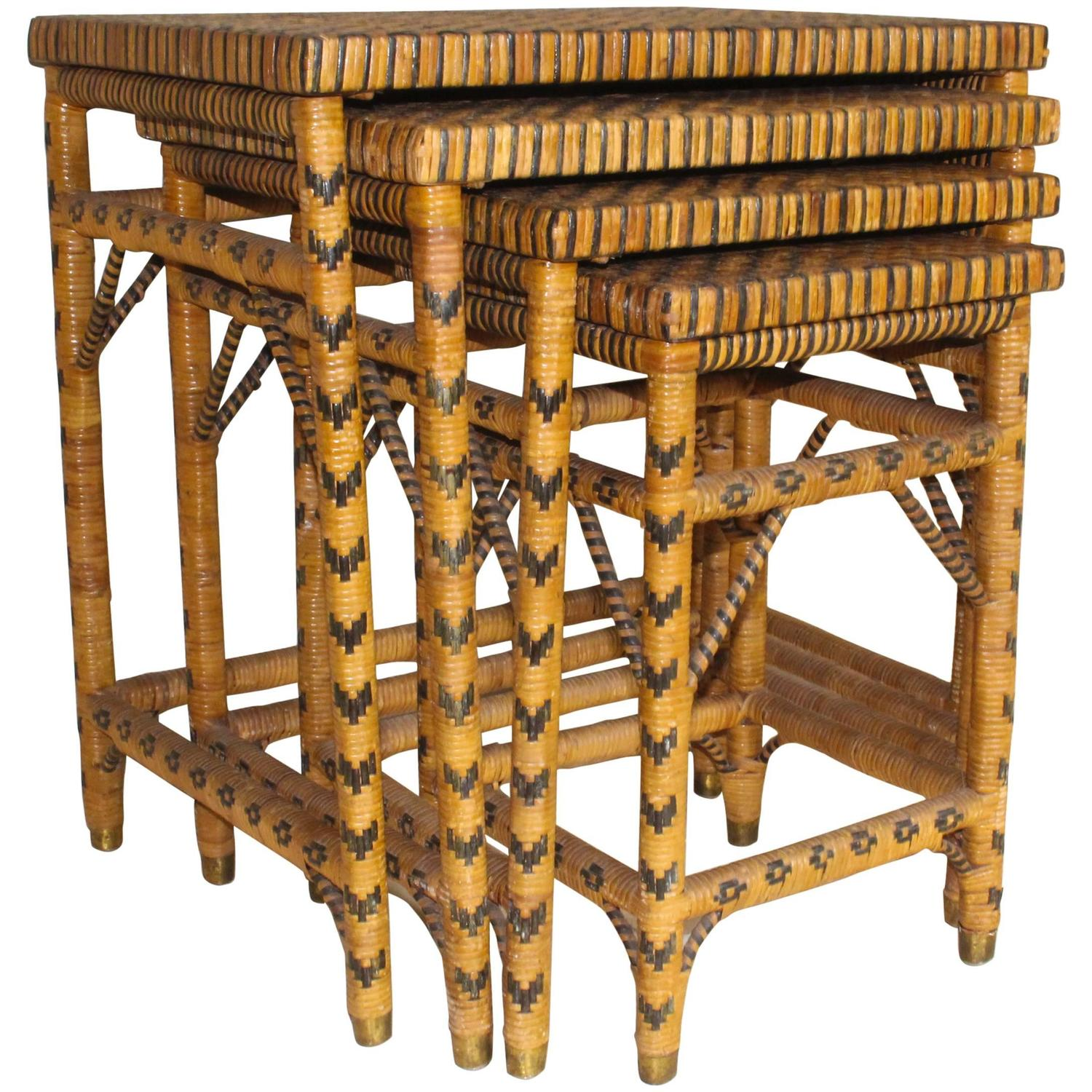 Rattan Nesting Tables ~ Set of four rattan nesting tables for sale at stdibs