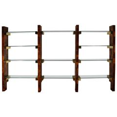 Paul Evans Cityscape Wall Unit Patchwork Burl, Brass and Glass