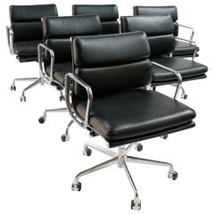 Six Charles & Ray Eames Soft Pad Chairs for Herman Miller