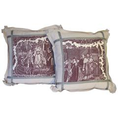 Pair of 19th Century Toile Pillows by Mary Jane McCarty