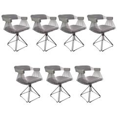 Set of Seven Comfortable Dining Chairs by Rudi Verelst for Novalux Belgium 1970s