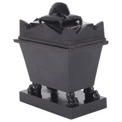 Mid-19th Century Cast/Berlin Iron Napoleon Inkwell Coffin