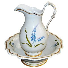 Flight & Barr Worcester Botanical Porcelain Ewer and Basin
