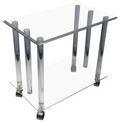 Modern Lucite Rod Bar Cart