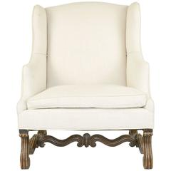 French Walnut Large-Scale Wingback Armchair