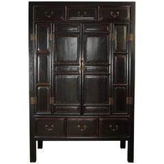 Large Late 19th Century Chinese Black Lacquer Two-Door Cabinet with Drawers