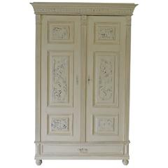 Painted Pine and Oak Armoire