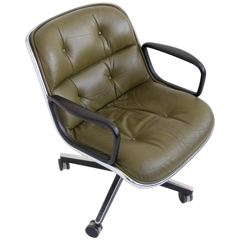 Green Leather Office Chair By Charles Pollock For Knoll