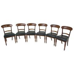 Set of Six Victorian Mahogany Dining Chairs with Upholstered Seats