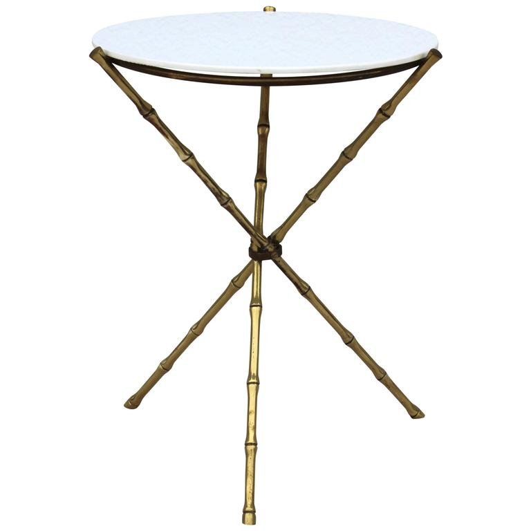 1950s faux bamboo brass tripod side table at 1stdibs for Bamboo side table