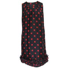 1960s Bob Bugnand Silk Black Sleeveless Shift with Red Polka Dots
