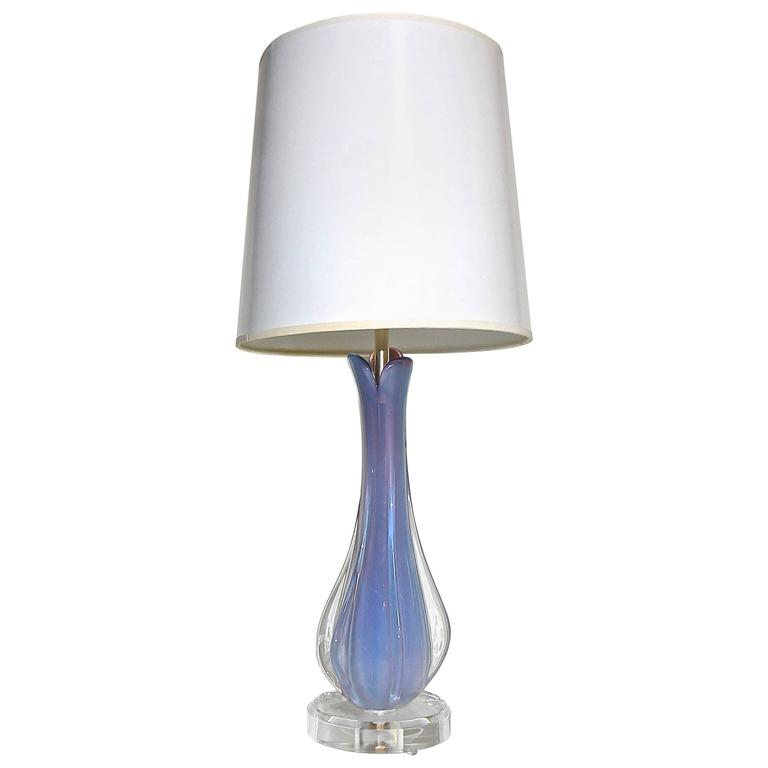 Murano Opalescent Purple Glass Table Lamp For Sale