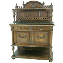 Unique French Marble-Top Buffet, Solid Oak, 1890