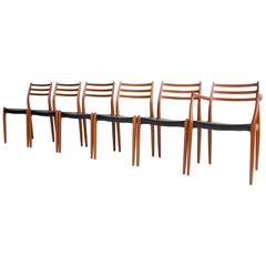 Set of Six No. 78 Dining Chairs by Niels Møller