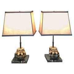 Pair of Gilded Ball and Claw Feet as Lamps