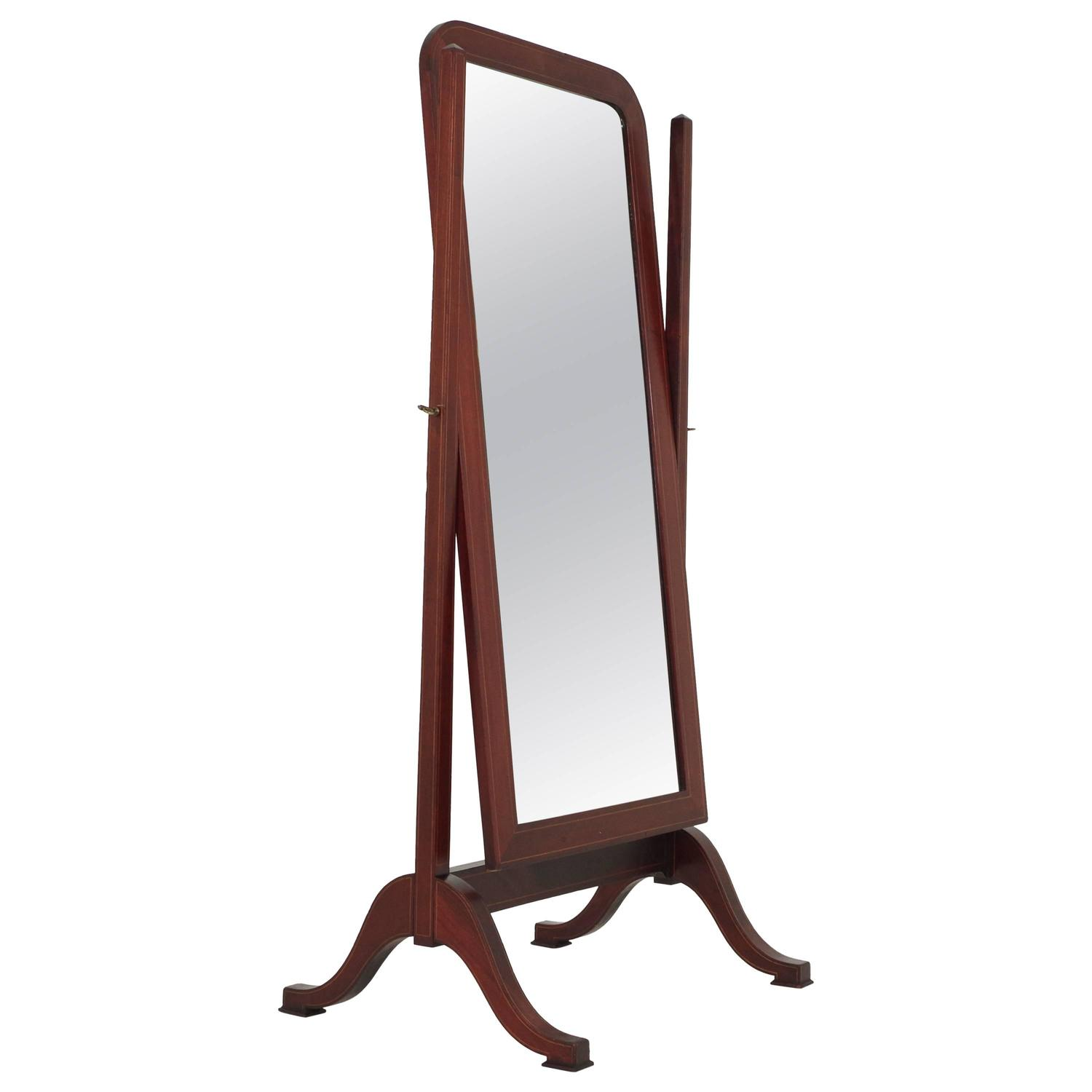 Antique Scottish Gany Inlaid Cheval Dressing Full Length Mirror On Stand At 1stdibs