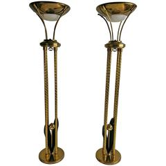 Matched Pair of Mid-Century Modern Brass Torchers by Lightolier