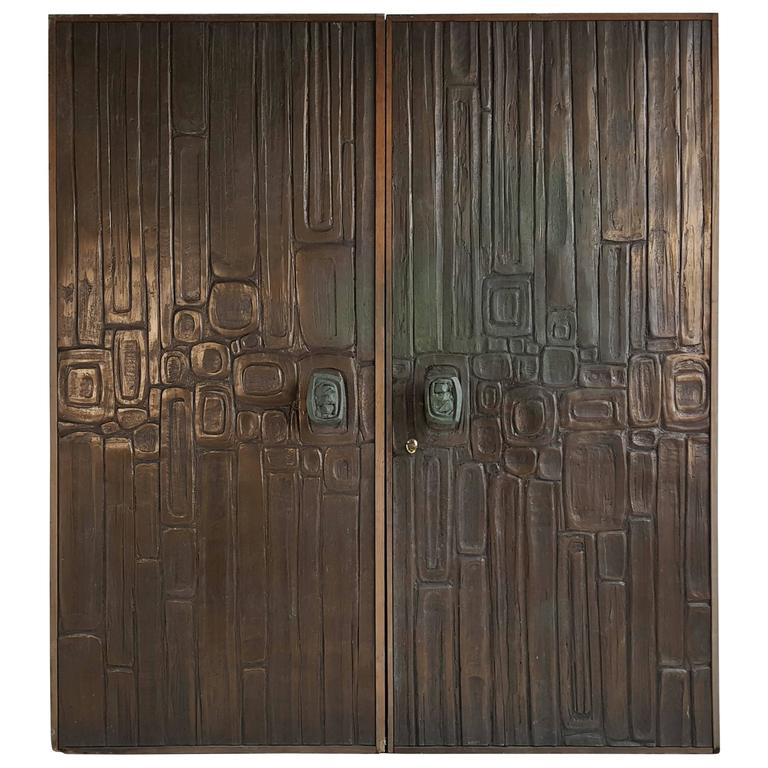 Rare Pair of Bonded Bronze Doors by Forms and Surfaces, Brutalist Design