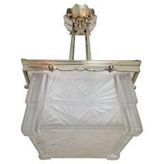 French Art Deco Pendant Chandelier or Flush Mount by J. Robert