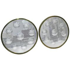 Fantastic Pair of Convex Op Art Wall Mirrors by Fornasetti, circa 1970