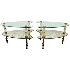 "Pair Of 1950'S Hollywood Regency Églomisé Mirrored Glass ""Kidney"" Side Tables"