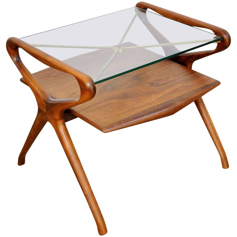 Italian Mid Century Modern Walnut, Brass And Glass Two Tier Side Table,