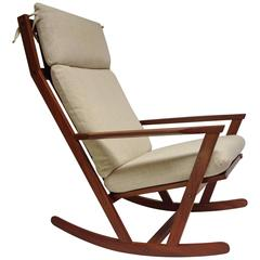 Spectacular 1960s Rocking Chair Designed by Poul Volther for Frem Rojle