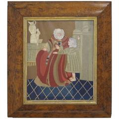 Wool Work Picture in Burled Wood Frame