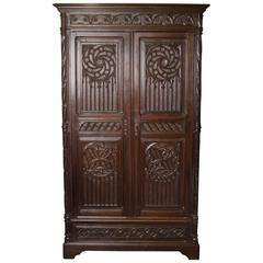 19th Century French Gothic Cabinet Armoire