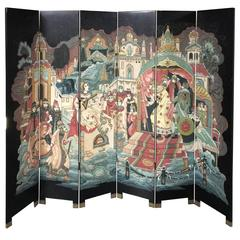 Chinese Six-Panel Decorative Lacquered Screen
