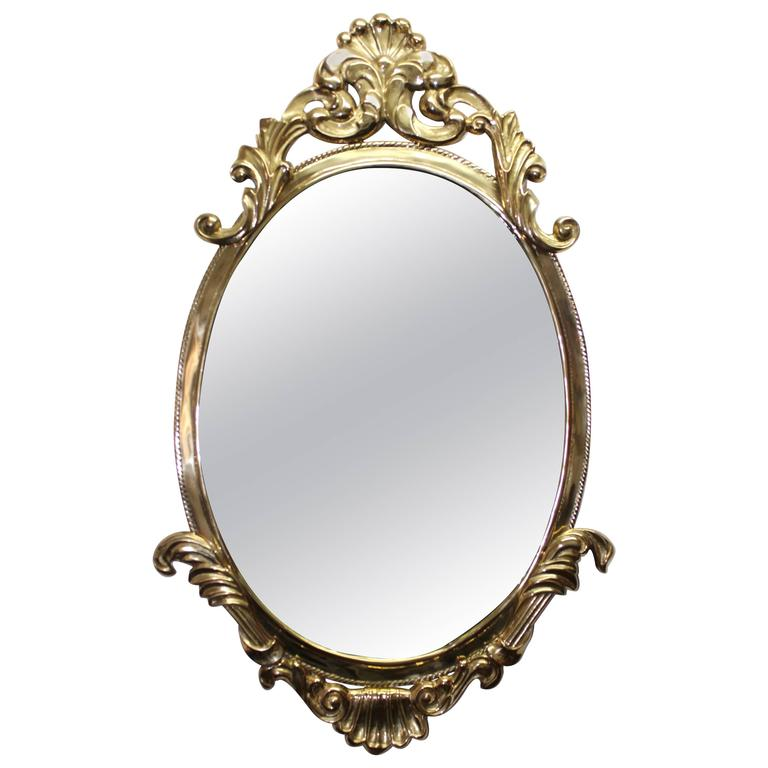 1970s French Style Brass Mirror