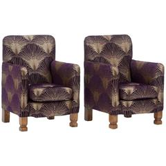 Stylish Duo of 1930s Art Deco Aubergine 'Metropolis' Armchairs
