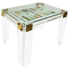 1970s Lucite Game Table with Removable Glass Top