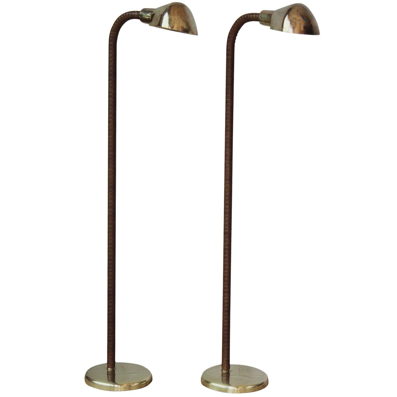 Pair of brass and leather reading lamps at 1stdibs for Hyatt 6 light floor lamp brass