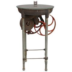 Sculptural Industrial Side Table with Gear Mechanism