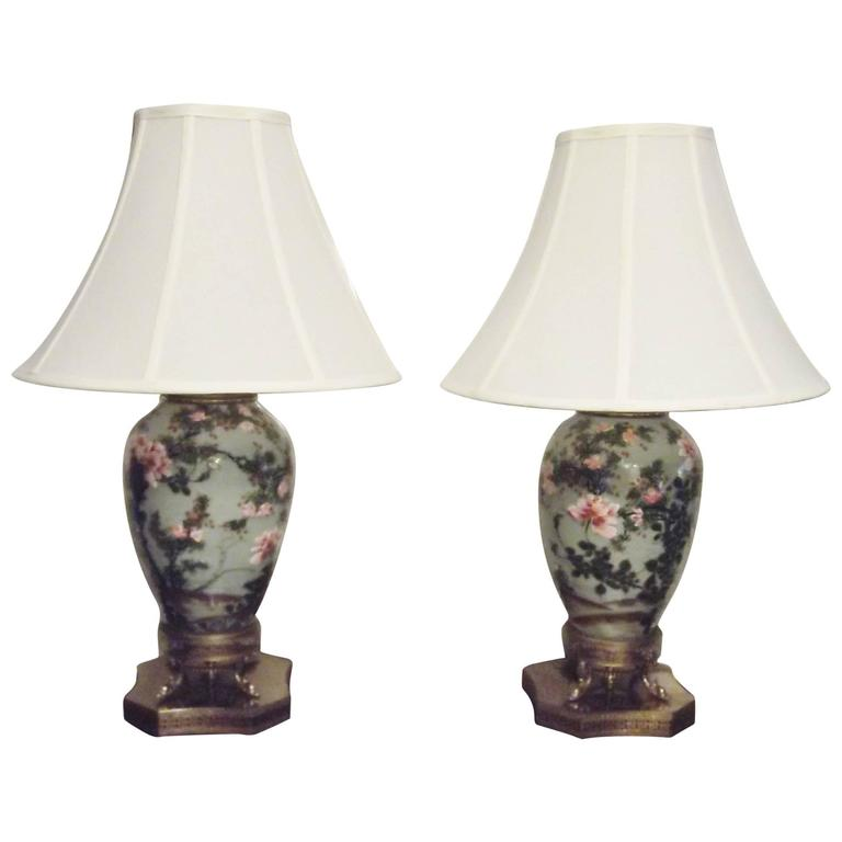 Pair of 19th Century Celadon Porcelain Lamps