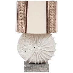 French Brutalist Lamp of Nautilus Form