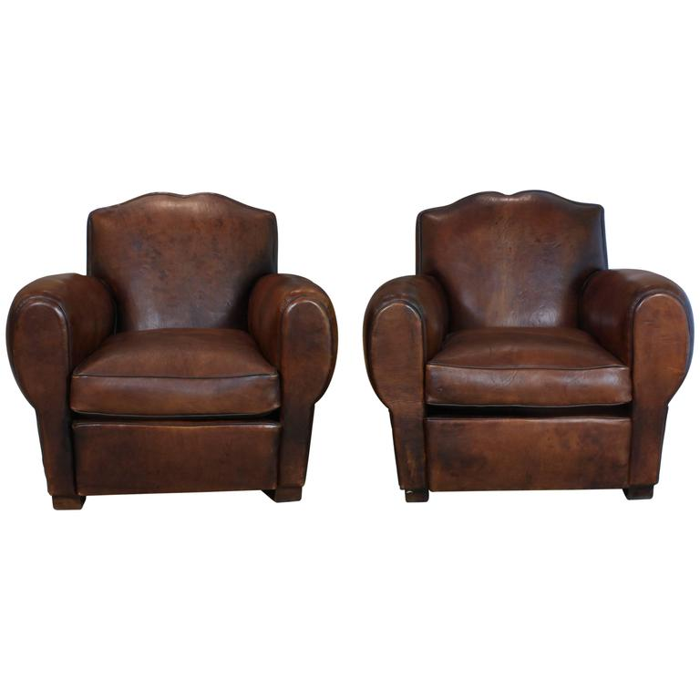 Pair of French Mustache Back Leather Club Chairs