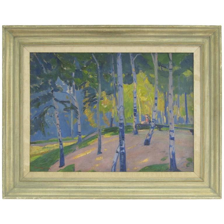 Landscape Oil on Canvas by Henry George Keller 1